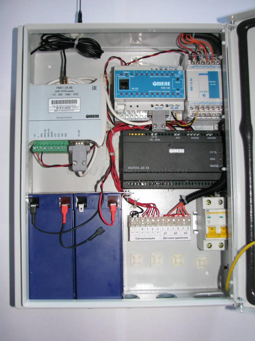 Управляющий шкаф системы мониторинга газовых баллонов в открытом состоянии.