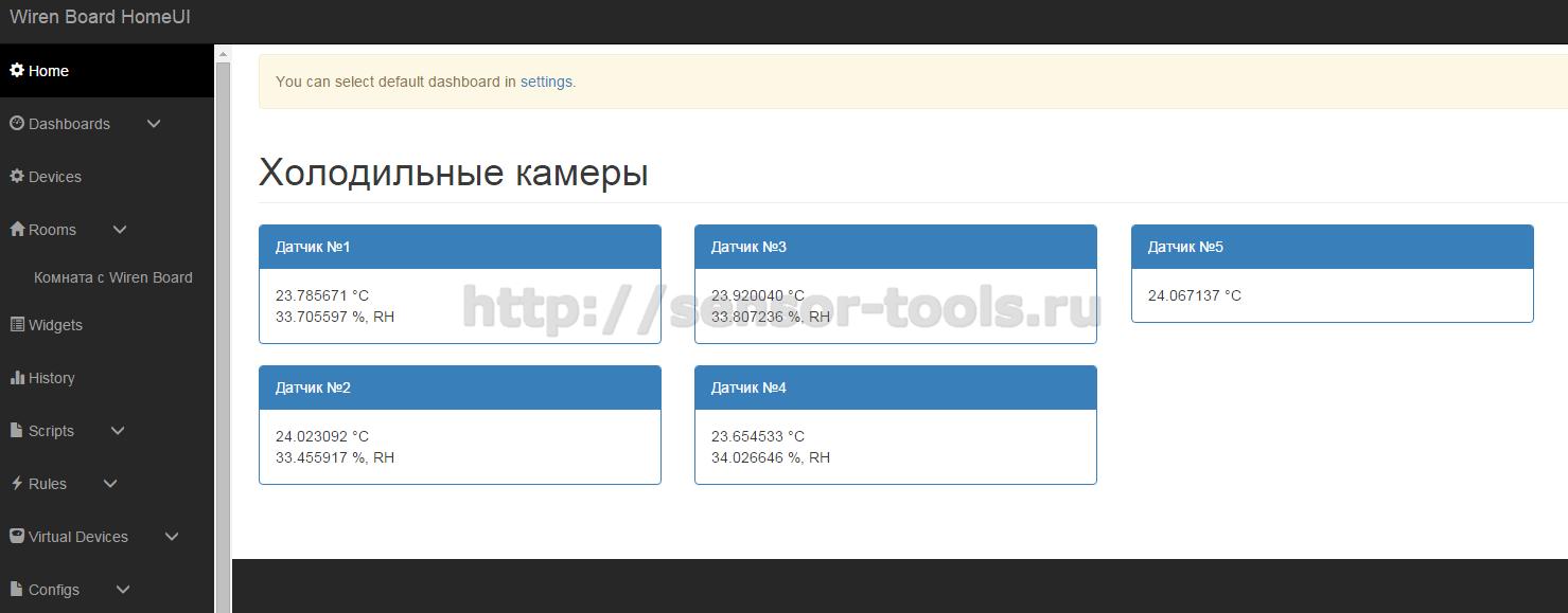 Панель с индикаторами на встроенном GUI контроллера