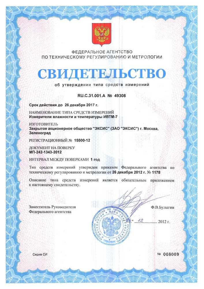 Сертификат Госреестра для датчика ИВТМ-7