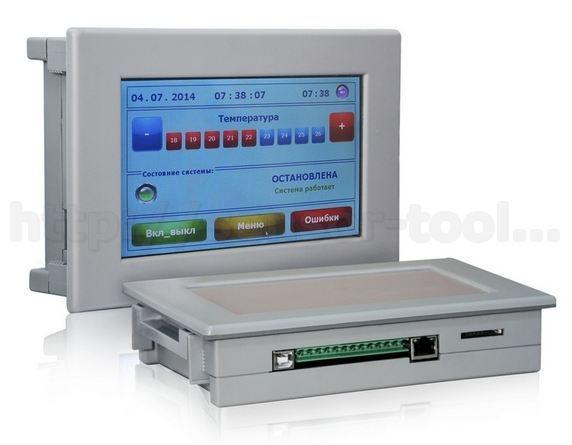 Сенсорная панель для отображения текущих значений температуры и влажности